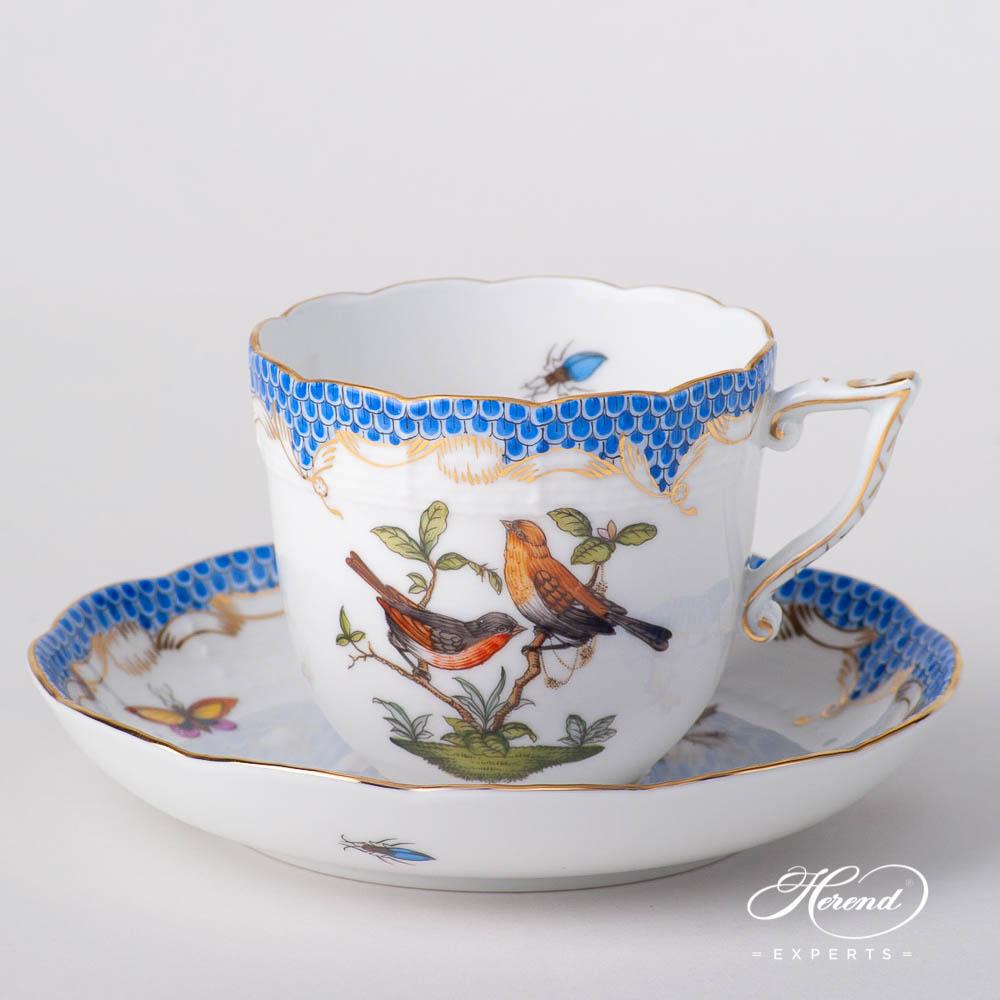 咖啡杯 – 罗丝柴尔德鸟 蓝色鱼鳞纹 – 赫伦细瓷