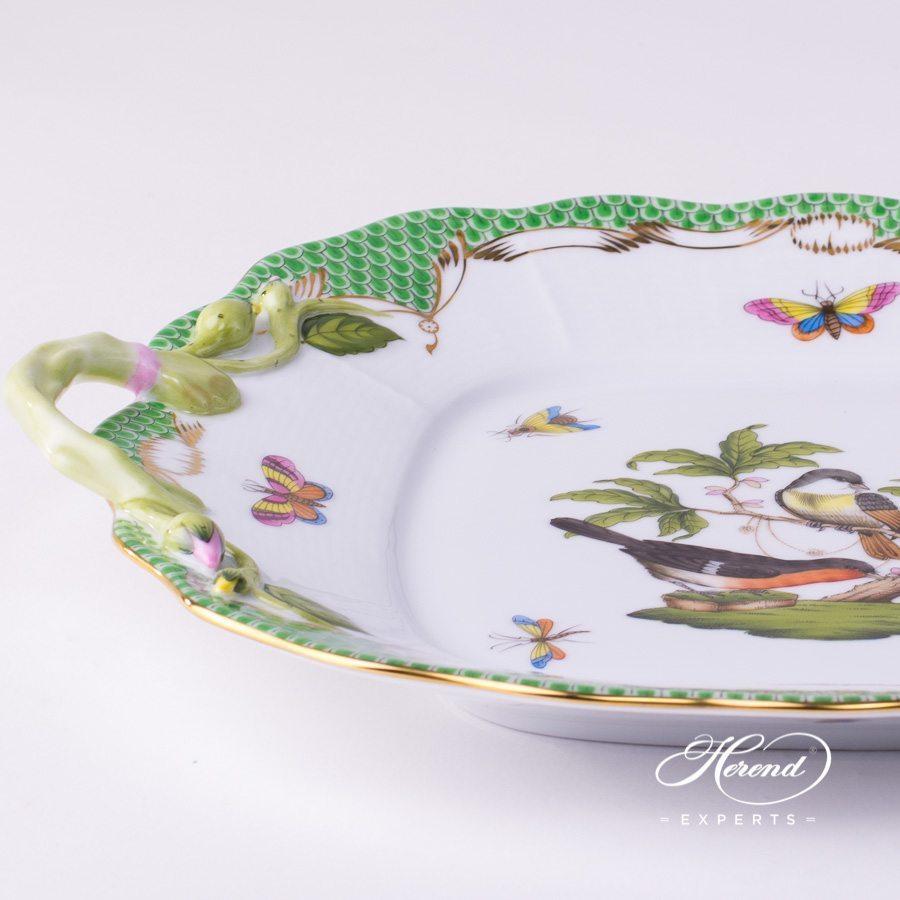 蛋糕盘 – 罗丝柴尔德鸟 绿色鱼鳞纹 – 赫伦细瓷