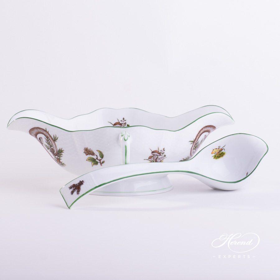 配长柄勺的船型酱料碗 – 狩猎系列 – 赫伦细瓷