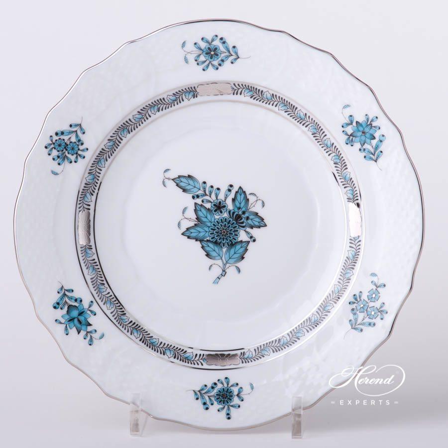 甜点盘 – 中国花束 / 阿波尼绿松石 – 赫伦细瓷