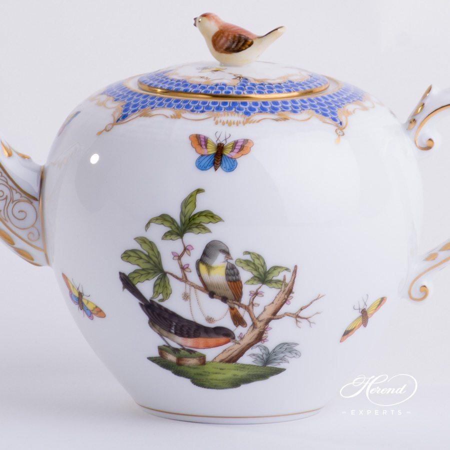 茶壶 – 罗丝柴尔德鸟 蓝色鱼鳞纹 – 赫伦细瓷