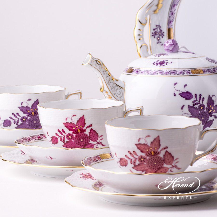 六人份茶具套装–中国花束/阿波尼组合色-赫伦细瓷