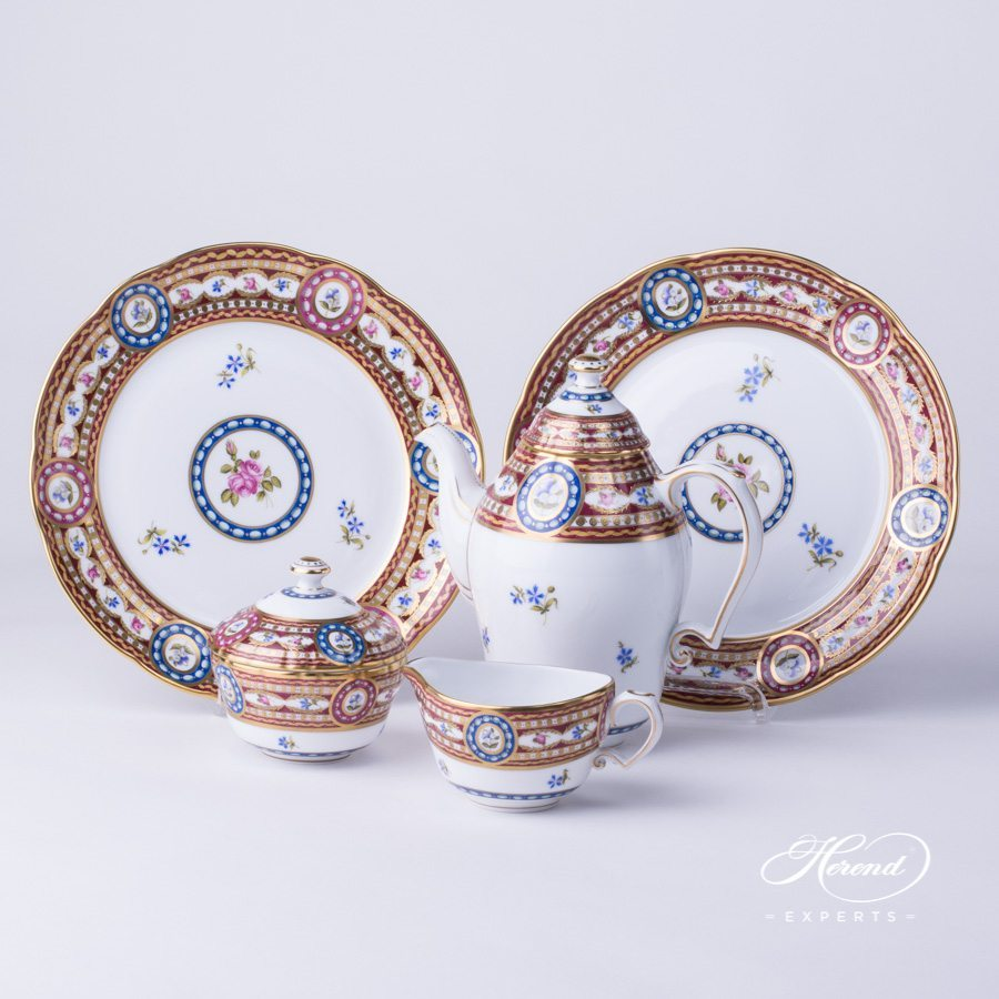 基础 咖啡套装 – 织锦蔷薇 – 赫伦细瓷