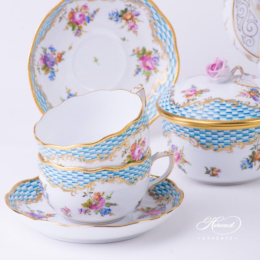 咖啡杯碟套装四人份– 方形鱼鳞纹花朵 – 赫伦细瓷