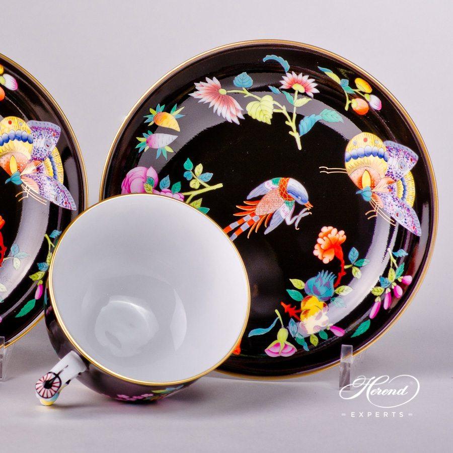 茶杯 双人份–黑底奢华蝴蝶 – 赫伦细瓷